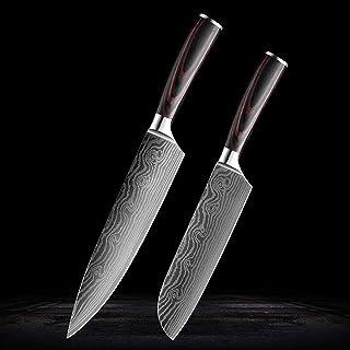 Couteau de cuisine en acier inoxydable Couteau Chef Couteau Damascus Steel Motif PELPE PECKING SANTOKU SLICER SAINY (Color...