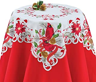 Collections Etc Beautiful Cardinals Holiday Table Runner/Topper Linens, Festive Dining Room Accents, Square