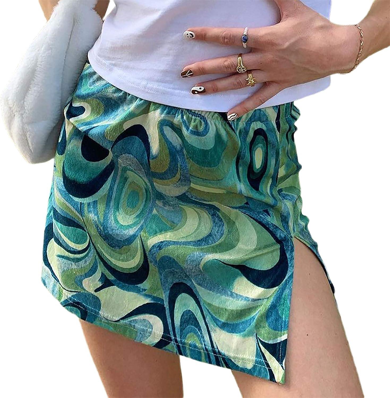 Side Split Summer Mini Skirt Y2k Asymmetrical A-line Floral Bodycon Paisley Print Elastic High Waist Casual Skirts
