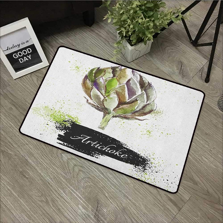Bathroom Door mat W35 x L59 INCH Artichoke,Hand Drawn Delicious Fresh Vegetable Healthy Menu Good Eats Super Food, Fern Green and Black with Non-Slip Backing Door Mat Carpet