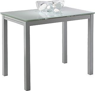 Miroytengo Mesa Cocina Cristal Extensible Color Blanco Estilo Moderno Comedor 100-140x76x60