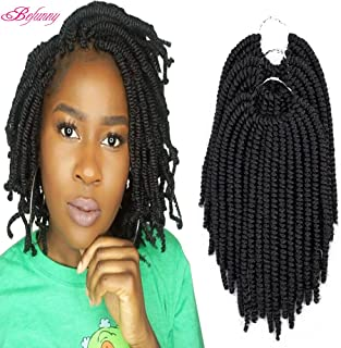 Befunny 8inch 6Packs Afro Kinky Twist Crochet Hair Short Small Havana Twist Crochet Braids Hair PreLooped Synthetic Marley Curly Braid Hair Extensions For Women 15Strands/Pack (8