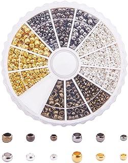 PandaHall Elite - 1440pcs 4 Couleurs Perles à Sertir en Laiton Perle a Ecraser Rond pour la Fabrication de Bijoux