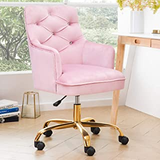 OVIOS Cute Desk Chair,Plush Velvet Office Chair for Girl or Lady,Modern,Comfortble,Nice Vanity Chair and Task Chair with Gold Base. (Light Pink)