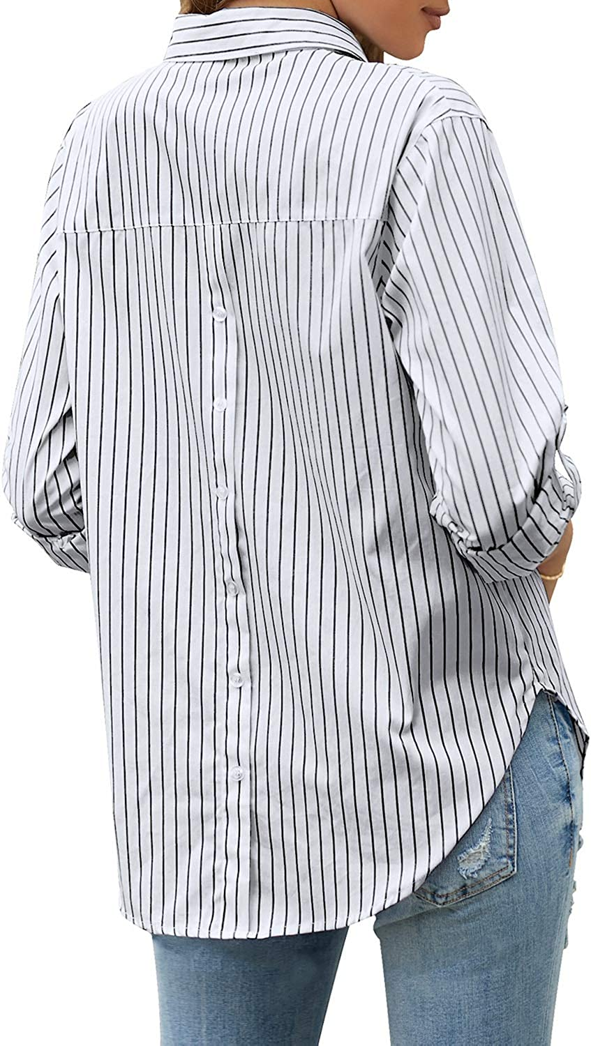 LookbookStore Women's Casual Button Down Striped Shirt Long Sleeve Loose Blouse Tops