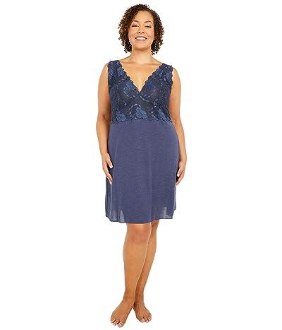 Natori Plus Size Zen Floral Chemise (Heather Night Blue) Women