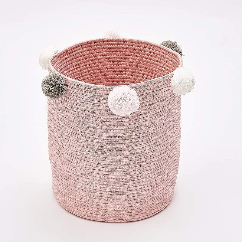 Wonder Space Cute Poms Storage Basket Premium Cylindric Burlap Canvas Round Laundry Toy Storage Bin Best Room Decor Hamper Organizer Pink