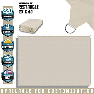 TANG Sunshades Depot 20' x 40' FT Waterproof Rectangle Sun Shade Sail 220 GSM Beige Straight Edge Canopy with Grommet UV Block Shade Fabric Pergola Cover Awning Customize Available