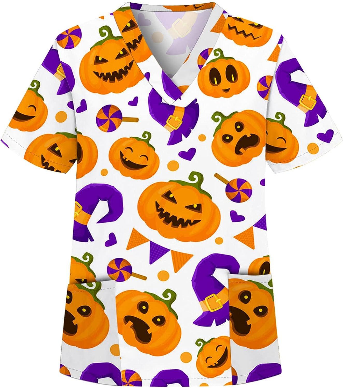 Halloween Scrub Tops for Women Working Uni Shirt Christmas latest Nurse Spring new work