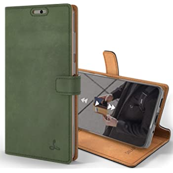 Snakehive Vintage Wallet for Samsung Galaxy S20 || Real Leather Wallet Phone Case || Genuine Leather with Viewing Stand & 3 Card Holder || Flip Folio Cover with Card Slot (Dark Green)