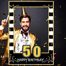 Glittery 50th Birthday Selfie Photo Booth Frame Black and Gold Birthday Party Photo Props - Upgraded Version with Support Cardboard