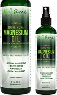 Kaiame Naturals Magnesium Oil Spray, Large 12 oz, Undiluted, Pure and Organic, Sourced from Ancient Zechstein Seabed