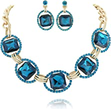 SP Sophia Collection Austrian Crystal Women's Chunky Choker Collar Chain Necklace and Earrings Jewelry Set