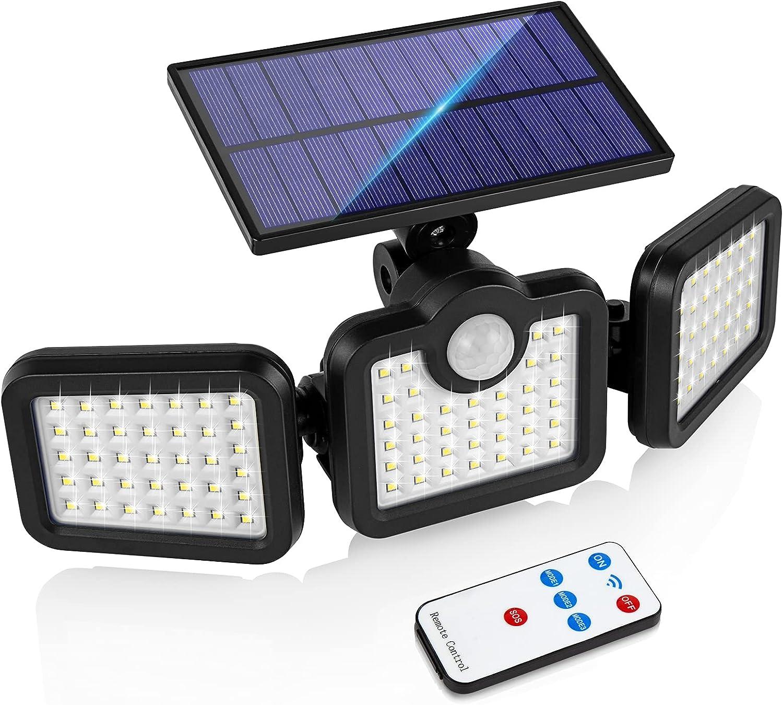 Solar Lights Outdoor, Smaxthsen 108 LED Wireless Motion Sensor Lamp, 270°Wide Angle Illumination, IP65 Waterproof & Easy Assembly, Security Flood Light for Garden, Backyard, Porch, Wall