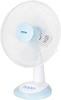 Ventilateur De Table Ou De Bureau Très Silencieux, 3 Vitesses De Ventilation, Oscillant Avec Rotation, Blanc