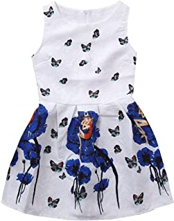 子供 ドレス Jopinica キッズガールズ 花 プリント ノースリーブ プリンセス ドレス ラウンドネックコットン 子供服 かわいい 柔らかい 肌触り良い 新生児服 膝スカート レトロ プレゼント 大きいサイズ