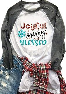 Joyful Merry and Blessed T-Shirt for Women Baseball Tees Christmas Snowflake Print 3/4 Raglan Sleeve Tee Tops Blouse