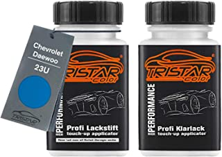 TRISTARcolor Autolack Lackstift Set für Chevrolet/Daewoo 23U Jazz Blue Basislack Klarlack je 50ml
