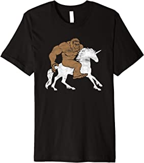 Bigfoot Riding A Magical Unicorn Sasquatch Premium T-Shirt