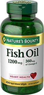 Nature`s Bounty Fish Oil 1200 mg Odorless, 200 Coated Soft gels (Packaging May Vary)