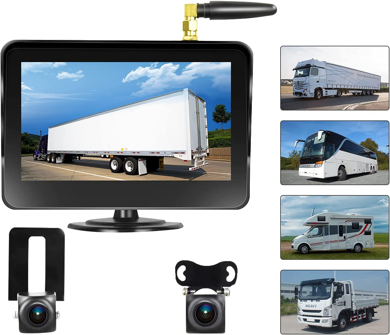 Camecho Vehicle Wireless Courier shipping free shipping Backup NEW Camera 5 Inch H 2 Split Monitor