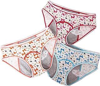 Paquete de 3 ropa interior de algodón para adolescentes con protección menstrual para niñas a prueba de fugas periodo brag...