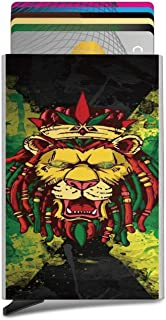 Lion of Jamaica Reggae Business Card Case Automatic Pop Up Card Holder Slim Metal Credit Card Wallet Minimalist Card Protector Professional Thumb Drive Name Card Carrier