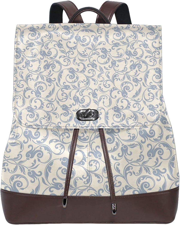 FAJRO Slap Up Baroque Texture Travel Backpack Leather Handbag School Pack