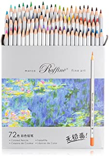 Marco Raffine Fine 72 Colors Art Drawing Pencil 7100-72CB Set Non-Toxic ASTM Wooden Writing Painting Artist Sketching Craft Doodling Designs and Creativity Colorful Blessings Cards