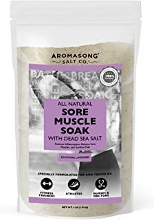 Aromasong Sore Muscle Soak, Natrual Lavender Muscle Recovery Bath Soak 4 LB Bulk Bag, with Raw Dead Sea Salt, Vitamin C & ...
