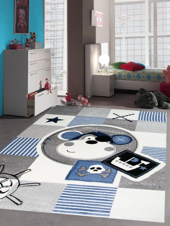 Carpetia Teppich Kinderzimmer Babyzimmer Jungen Affe Pirat blau crème grau schwarz Gre 160x230 cm