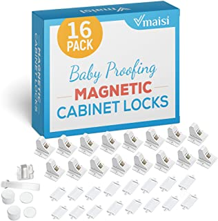 16 Pack Child Safety Magnetic Cabinet Locks - Vmaisi Children Proof Cupboard Baby Locks Latches - Adhesive for Cabinets & ...