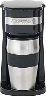 Bestron Cafetera con Taza Térmica, Para Café de Filtro Molido, 2 Tazas, 750 W, Acero inoxidable, Negro