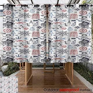 Sliding Door Curtain Nautical Chest Magnifying Glass Energy Efficient, Room Darkening W 72
