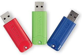 Verbatim 128GB Pinstripe USB 3.0 Flash Drive Retractable Thumb Drive - 3 Pack - Multicolor (Green, Blue, Red)