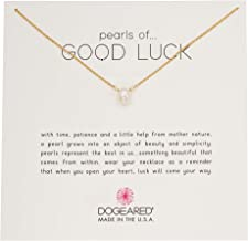 Dogeared Women's Pearls of.Good Luck, Small Button White Pearl Necklace