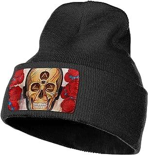 Explore Crazy Art Third Eye Skull Roses Outdoor Hat Knitted Hat Warm Beanie Caps for Men Women