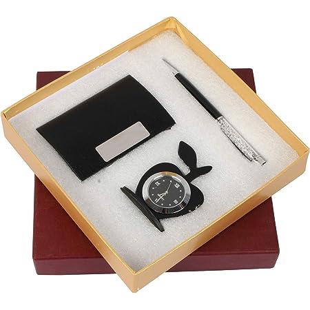 Celebr8 3 in 1 Black & Silver Corporate Gift Set with Apple Clock, Crystal Pen, Business Card Holder