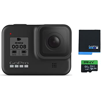 GoPro HERO8 Black Waterproof Action Camera with Touch Screen 4K Ultra HD Video 12MP Photos 1080p Live with Accessory Bundle - 1 Additional GoPro USA Batteries + PNY 64GB U3 microSDHC Card