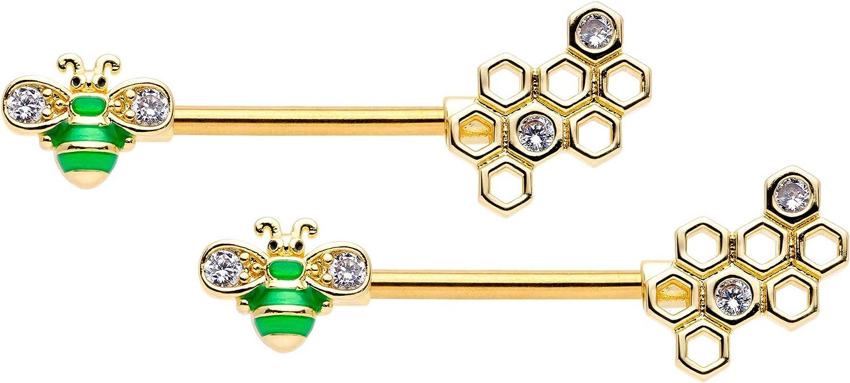 Body Candy 14G Womens Nipplerings Piercing PVD Steel 2Pc Honeycomb Green Bee Nipple Ring Set 9/16