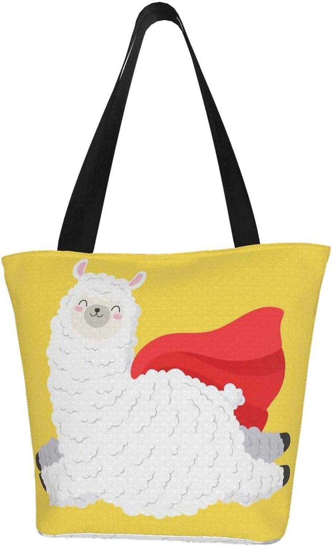 No Prob-Llama Yellow Happy Themed Printed Women Canvas Handbag Zipper Shoulder Bag Work Booksbag Tote Purse Leisure Hobo Bag For Shopping