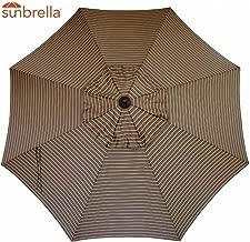 Sunbrella Replacement Canopy Umbrella Sunshade Canopy Top for 9 Ft 8-Rib Outdoor Patio Umbrella with Non Faded Sunbrella Fabric and UV Protection (Sunbrella, Cocoa Stripe)