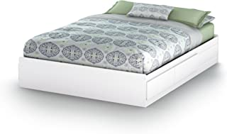 South Shore Vito Mates Bed with 2 Drawers, Queen 60-inch, Pure White