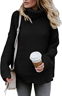 Womens Turtleneck Long Sleeve Chunky Knit Pullover...