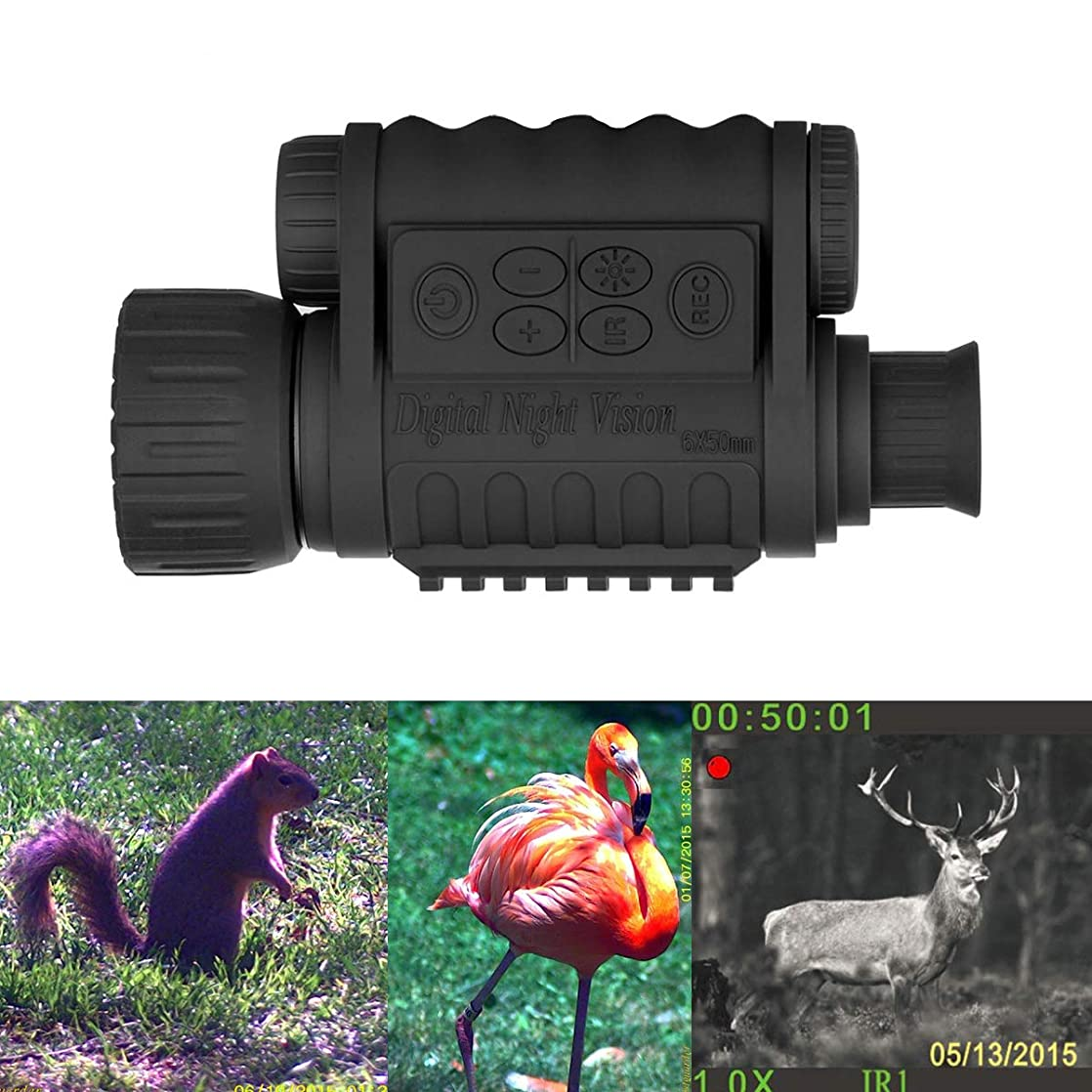 Guomu Digital Infrared Night Vision Monocular 6X 50 mm Takes 5mp Photo & 720p Video from 385 yards/1150 ft Distance in Complete Darkness for Night Hunting/Fishing yygyqytg57917