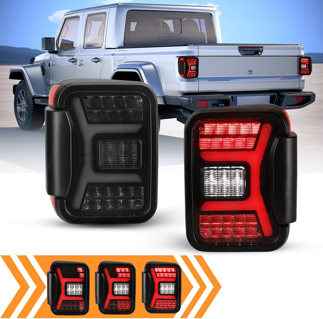 WOLFSTORM Smoked LED Tail Lights for 2019-2021 Jeep Gladiator JT Accessories w / 3D DRL / Dynamic Sequential Turn Signal Light, Plug & Play Taillights, 30W Reverse Light / Brake Lamp 1 Pair