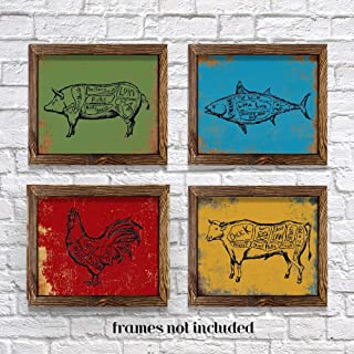 Kitchen Meat Cut Diagram Wall Art Prints Vintage (Set Of 4) -Unframed Christmas Gifts