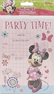 Minnie Mouse Pack Of 20 Party Invites With Envelopes