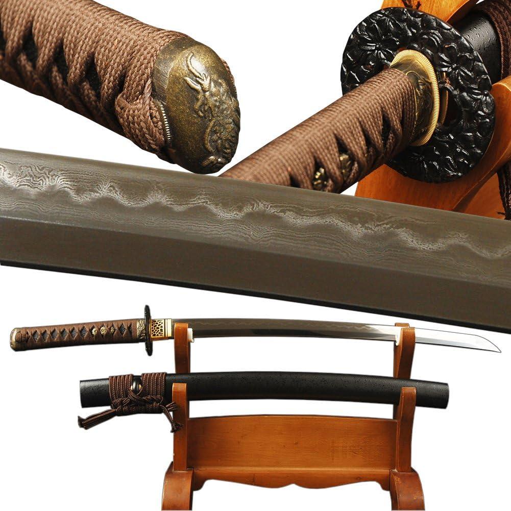 YJ COOL Max 56% OFF 100% Hand Forged Japanese Wakizashi T Clay Year-end annual account Sword Samurai