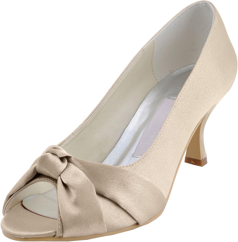 Minishion MZ619 Womens Peep Toe Kitten Heel Knot Bridal Wedding Satin Sandals shoes